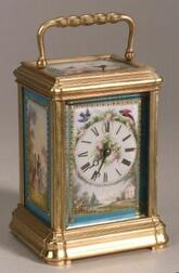 French Bronze and Porcelain Repeating Carriage Clock