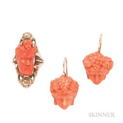 Carved Coral Earpendants and a Low-karat Gold and Coral Ring