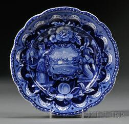 """Historical Blue Transfer-decorated Staffordshire Pottery """"States"""" Plate"""