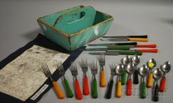 Turquoise-painted Wood Cutlery Box with Bakelite-handled Flatware
