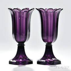 Pair of Amethyst Pressed Glass Tulip Vases