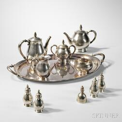 International Silver Co. Royal Danish Pattern Coffee and Tea Set with Apple Pattern Tray