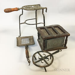 Four Iron, Tin, and Wood Hearth Items