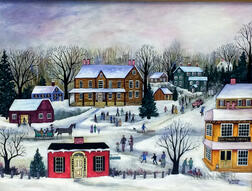 Janet Munro (American, b. 1949)      Winter Activities/A Village Scene