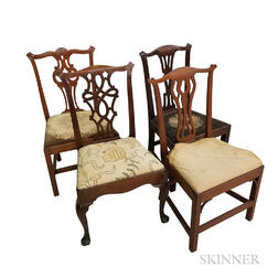 Four Chippendale Carved Mahogany Side Chairs