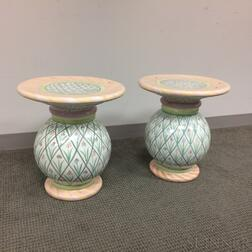 Pair of MacKenzie-Childs Ceramic Pedestals