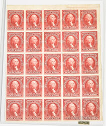Sheet of Twenty-five Cinderella Stamps for the 1913 International Philatelic Exhibition