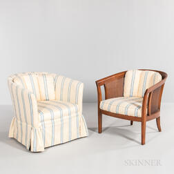 Two Dunbar Three-panel Woven Cane-back Chairs