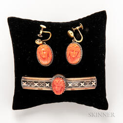 Antique Gold-filled and Coral Cameo Bar Brooch and a Pair of Coral Cameo Earclips