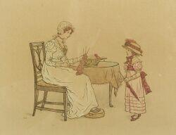Attributed to Kate Greenaway (British, 1846-1901)  Knitting