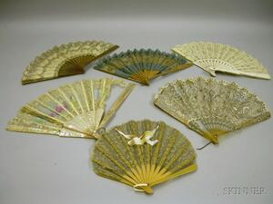 Five Silk and Lace Hand Fans and a Mother-of-Pearl Hand-Painted Silk Fan