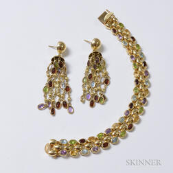 14kt Gold and Multicolored Gemstone Bracelet and Matching Earrings