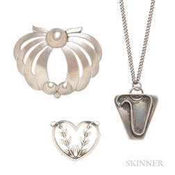 Three Sterling Silver Jewelry Items