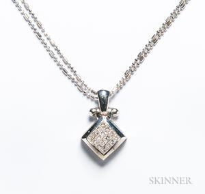 18kt White Gold and Invisibly Set Diamond Pendant
