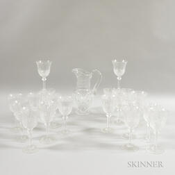 St. Louis Colorless Glass Pitcher and Twenty-six Pieces of Unmarked Stemware.