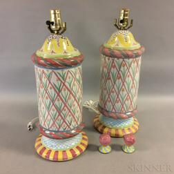 Pair of MacKenzie-Childs Ceramic Lamps