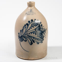 Five-gallon Cobalt-decorated Stoneware Jug