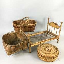 Three Woven Splint Baskets and a Toy Bed.     Estimate $20-200