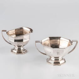 Sterling Silver Sugar Bowl and Creamer