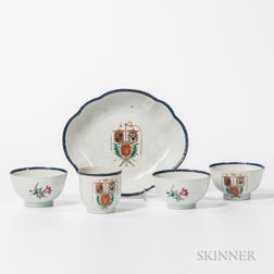 "Five Export Porcelain ""Triple Alliance"" Table Items"