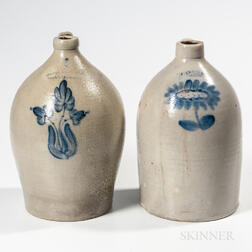 Two Three-gallon Pennsylvania Stoneware Jugs