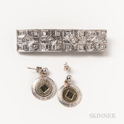 Platinum and Diamond Converted Brooch and a Pair of 14kt Bicolor Gold Earrings