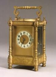 French Bronze Classical Revival Repeating Carriage Clock