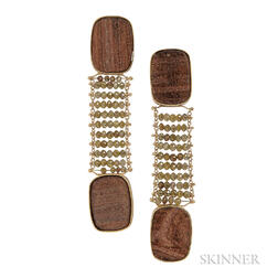 18kt Gold, Bronze Mineral Glass, and Diamond Earrings, Retailed by Barney's