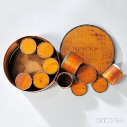 Large, Round, Stenciled Spice Box