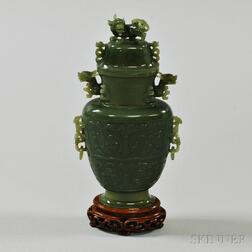 Green Hardstone Covered Vase
