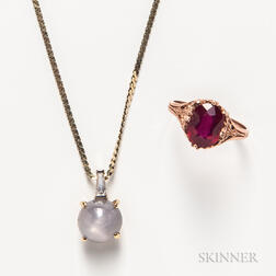 14kt Gold, Star Sapphire, and Diamond Pendant with Chain and a Victorian 10kt Gold and Ruby Ring