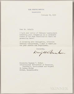 Eisenhower, Dwight D. (1890-1969) Typed  Letter Signed, 28 February 1953.
