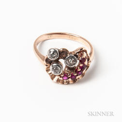 Retro 14kt Rose Gold, Diamond, and Synthetic Ruby Ring