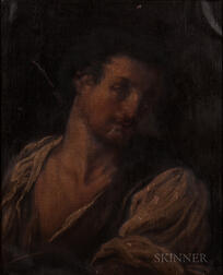Italian School, 17th Century Style      Portrait Head of a Man
