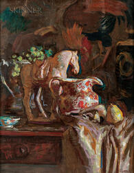 Harry Sutton (American, 1897-1984)      Still Life with Tang Horse and Pottery Pitcher