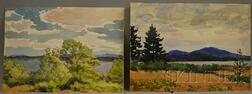 Charles Henry Richert  (American, 1880-1974)      Lot of Two Unframed Watercolors of Maine:   Ironbound Island