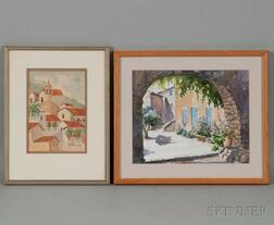 Two Framed Watercolor Town Scenes