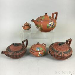 Five Wedgwood Rosso Antico Items