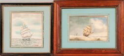 American School, 20th Century      Two Framed Maritime Watercolors: American Ship