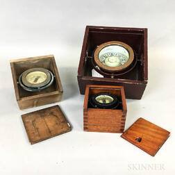 Three Boxed and Gimbaled Compasses