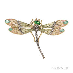 18kt Gold and Plique-a-jour Enamel Dragonfly Brooch