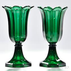 Pair of Green Pressed Glass Tulip Vases