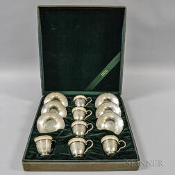 Six Sterling Silver Saucers and Demitasse Cups