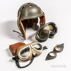 American Tanker Helmet and Three Pairs of Goggles