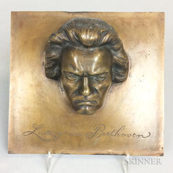 Small Bronze Bust Plaque of Beethoven