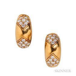 18kt Gold and Diamond Earclips, Faraone