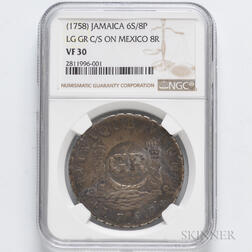 1758 GR Counterstamp on a 1757 Mexican Pillar 8 Reales, NGC VF30