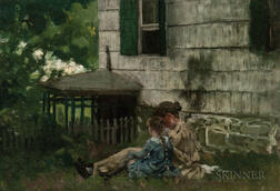 American School, 19th/20th Century      Mother and Daughter Seated Beside a House