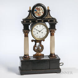 Continental Marble and Faux Slate Mantel Clock