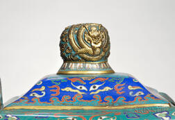 Cloisonne Fangding   Vessel and Cover